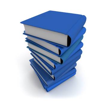 3D rendering of a pile of blue books on a white background